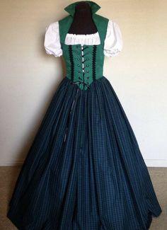 Green and Blue Scottish Irish Celtic Renaissance Dress Bodice Costume 3-Piece set - SCA - Medieval - made to fit YOU. NNT #renaissance #ad #medieval #sca #celtic #etsy