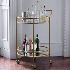 Valet Bar Cart, Antique Brass