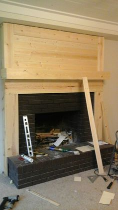 Fireplace Makeover • Le Bois Home Brick Fireplace Remodel, Fireplace Frame, Fireplace Update, Brick Fireplace Makeover, Shiplap Fireplace, Fireplace Mantels, Fireplaces, Fireplace Surrounds, Fireplace Ideas