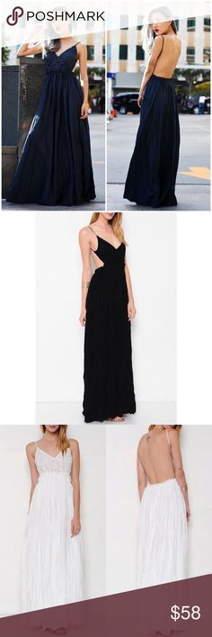 """X """"Moonset"""" Backless Lace Maxi Dress Lace front backless maxi dress. Look your most stunning with this beauty. Available in black and ivory. This listing is for the BLACK. Brand new. PRICE FIRM. NO TRADES. Bare Anthology Dresses Maxi"""