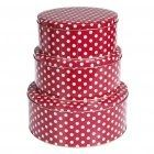Store your delicious home-made cups in style in these funky retro red  white polka dot cake tins.