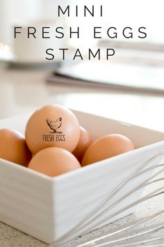 A mini Fresh Eggs stamp is a great way to personalize your chicken eggs and egg cartons. Other saying available. Ship Southern Paper and Ink on Etsy.
