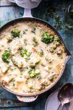 Chicken Broccoli Cheddar Quinoa Casserole: super easy, one skillet, totally healthy, but yet feels totally cozy at the same time! @halfbakedharvest.com