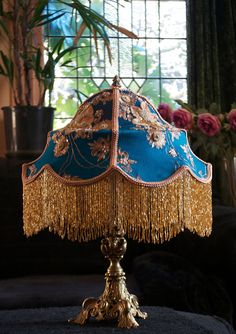 """Victorian vintage look """"Bollywood"""" lampshade in vintage turquoise silk beaded sari fabric and glass beaded fringe."""