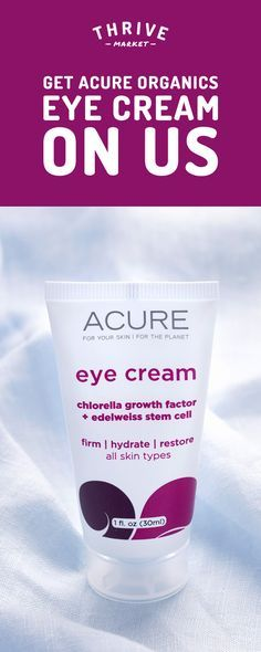 Get your FREE Acure Organics eye cream at Thrive Market! On a mission to make healthy living easy and affordable for everyone, Thrive Market offers premium, healthy foods and wholesome products up to 50% off every day with delivery right to your door. Get your FREE eye cream today while supplies last, and start saving!