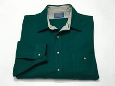 Pendleton L Virgin Wool Green Button Down Mens Elbow Patches Long Sleeve Large #Pendleton #ButtonFront