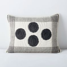 Ink Spot Black and Ivory Cotton Voile Sham Pillowcases & Shams, Pillow Shams, Pillow Room, King Pillows, Living Room Pillows, Throw Pillows, Cotton Bedding, Linen Bedding, Black And White Pillows