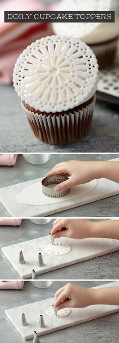 Use a decorating tip to make Doily Cupcake Toppers - Cake Hacks & Baking Tips - Kuchen Bilder Fondant Toppers, Fondant Cakes, Cupcake Toppers, Cupcake Cakes, Fondant Tools, Fondant Figures, Cake Decorating Techniques, Cake Decorating Tutorials, Cookie Decorating