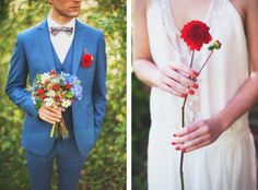 Great Blue Groom Suit with red buttonhole & floral print bow tie // Colourful French Wedding Styled Shoot by www.marionhphotography.com (30)