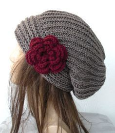 Hand Knit Hat- Womens hat - chunky knit Slouchy Beanie Slouch Hat Flower Fall Winter Accessories beret taupe Autumn from Ebruk on Etsy. Knitting Patterns Free, Hand Knitting, Hat Patterns, Bandeau Crochet, Bonnet Crochet, Knitted Hats, Crochet Hats, Slouch Beanie, Slouchy Beanie Hats