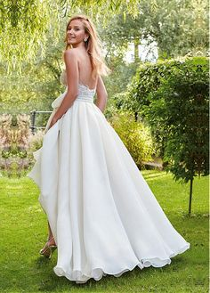 1dabf51a128913 Magbridal Alluring Organza Satin Sweetheart Neckline A-line Wedding Dresses  With Beaded Lace Appliques