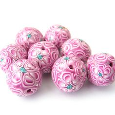 Pink Flower Clay Beads