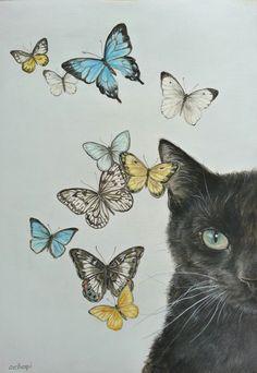 おちょぴ   猫に蝶 6   thisisgallery   好きなアーティストが見つかるアート購入・販売サイト