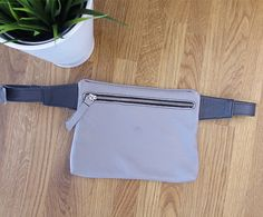 LEATHER Hip Bag BeltHip Purse Grey waist bag travel by meandbags