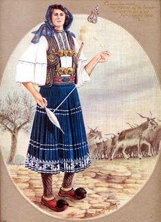 . LA PASIÓN GRIEGA .: julio 2008 Greek Traditional Dress, Traditional Art, Traditional Outfits, Mykonos, Greek Dress, Greek Culture, Greek Art, Greek Clothing, Folk Costume