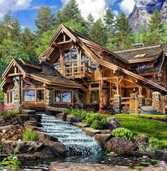 Cabin Homes, Log Homes, Grid Architecture, Rendered Houses, Small Home Offices, Cabin In The Woods, Timber House, Dream House Exterior, Building Design