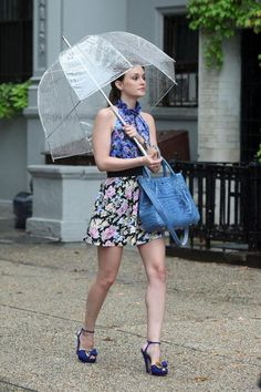 4x03 Super adorable. I love the prints and the clear umbrella. Perfection. Erdem Spring 2010 top. JC Penny I Heart Charlotte Ronson skirt. Sonia Rykiel shoes.