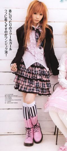 harajuku fashion. nice boots, nice skirt, great waterfall ruffle blouse. I would rock this outfit fa shoooooo!