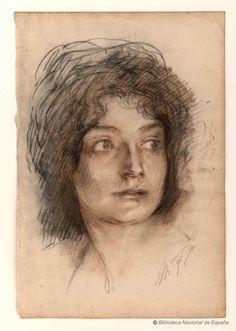 [Cabeza de Henriette Fortuny, mujer del artista]. Fortuny y Madrazo, Mariano 1871-1949 — Dibujo — 1900?