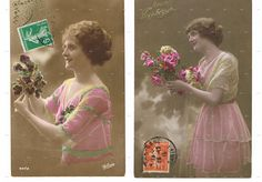 AntiquePostcards.TWO.retro.Paris.french.rare.scrap by studioflowerpower, $9.00