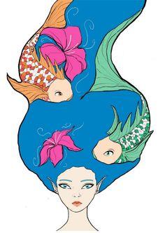 Natural Elements - Water Digital Paint  Ipad Sleeve/Cover project (c) sara siracusa #sleeve #fantasy #water #elements #nature #carp #fairy #illustration #artwork #digitalpaint