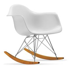 Eames Molded Plastic Rocker, White, Chrome/Maple Base - modern - rocking chairs - Design Within Reach Eames Rocker, Eames Rocking Chair, Eames Chairs, Swivel Chair, Bar Chairs, Chair Cushions, Dining Chairs, Dining Room, Techno