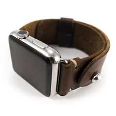 Leather Apple Watch Band 42mm Men Horween Leather, Dark Brown Chromexcel Adjustable button stud strap, Handmade Apple Watch