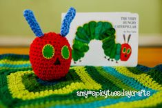 """Amy's Blanket Buddy - free crochet pattern for an adorable """"Very Hungry Caterpillar"""" lovey"""