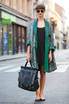 green-silk-robe-coat-and-all-black-outfit