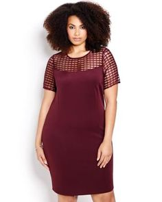 Plus size Mesh Bodycon Dress in wine is on trend this season.