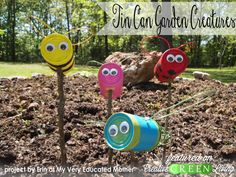 Make a cute upcycled kid craft with old tin cans
