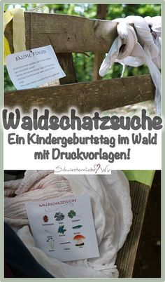 Children's birthday party // a forest treasure hunt with lots of discoveries + templates to print - Schwesternliebe & Wir Trailers Camping, 2d Shapes Activities, Scavenger Hunt Birthday, Camping Desserts, Camping With Kids, Easter Party, Childrens Party, Handmade Furniture, Diy Wood Projects