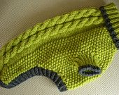 Dog Sweater - Cable Knit - Apple Green with Grey Trim - Large. $39.50, via Etsy.