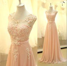 Vintage Rose Pink applique bridesmaid dress pale pink by Redfoxfur, $129.00