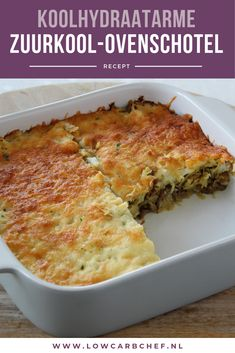 Sauerkraut casserole with minced meat - Lowcarbchef.nl - Today I share one of my favorite oven dishes, a sauerkraut oven dish with minced meat. This sauerkr - Dutch Recipes, Low Carb Recipes, Cooking Recipes, Healthy Recipes, Cooking Time, Healthy Nutrition, Healthy Eating, Ground Beef Casserole, Oven Dishes