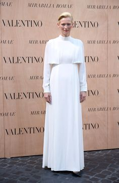Tilda Swinton attends the Valentinos 'Mirabilia Romae' haute couture collection fall/winter 2015 2016 at Piazza Mignanelli on July 9, 2015 in Rome, Italy.