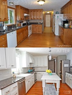 DIY White Kitchen Reveal | How a blogger transformed her kitchen cabinets from dark and dated to bright, clean, and modern using a paint sprayer!