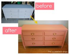 Turning a thrifted dresser into a pink and cold beauty with some paint and new library style pulls! - via the sweetest digs