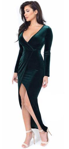 Vara Forest Green Velvet Long Sleeve Maxi Dress