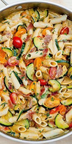 Creamy Pasta with Prosciutto (bacon), Zucchini and Grape Tomatoes