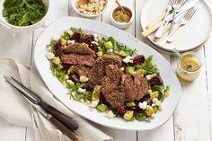 Dukkah lamb steaks with roast beetroot and macadamia salad