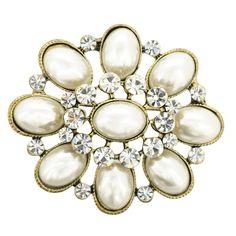 Gold Ivory Pearl Wedding Brooch Pin
