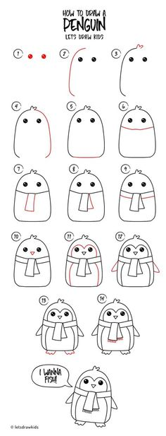 How to draw a Penguin. Easy drawing, step by step, perfect for kids! Let's draw kids. Pinterest:Arzushka22