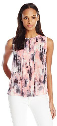 08f20a42524c0 Ellen Tracy Women s Pleat Front Printed Keyhole Shell - ShopStyle Sleeveless