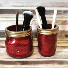 Excited to share this item from my shop: Glitter Jar Set, Glitter Jars, Makeup brush holder, makeup storage, brush holders Mason Jar With Straw, Glitter Jars, Glitter Mason Jars, Mason Jar Crafts, Red Glitter, Mason Jar Diy, Diy Jars, Shabby Chic Jars, Mason Jar Soap Dispenser