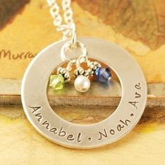 Hand Stamped Jewelry  Personalized Necklace  Pearl & by AnnieReh,