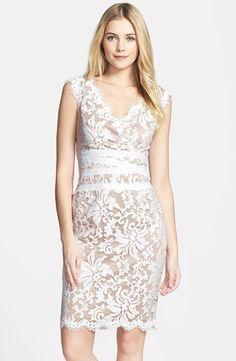 Tadashi Shoji Embroidered Lace Sheath Dress (Regular & Petite) at Nordstrom.com. Scalloped edges enhance a flirty V-neck sheath dress with a matte wraparound waistband. Richly textured lace lends extra dimension to the clean-lined silhouette.