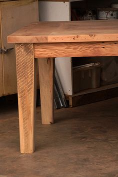 Farmhouse Breadboard End Table with tapered legs and pegged breadboard ends. Raw Furniture, Rustic Furniture, Furniture Making, Furniture Design, Bread Board, Douglas Fir, South Australia, Farmhouse Table, End Tables