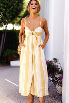 eb535826fc49 Yellow Spaghetti Straps Stripe Printed Knotted Chic Jumpsuit