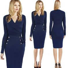 New Sprint and Autumn Women Fitted Work Dress Fashion V Neck Plain Color Bodycon Dresses Women